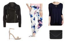Floral print pants, black shirt, leather jacket, nude heels