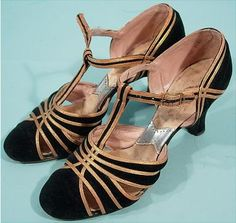 1930's Deco Black Velvet and Gold Metallic Leather T-Strap Shoes