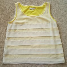 Yellow & White Layered Blouse Great spring color LOFT Tops Blouses