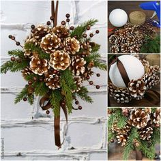 Quick and Easy Pinecone Fall Decor Ideas Christmas Advent Wreath, Christmas Gift Decorations, Christmas Swags, Christmas Time, Pine Cone Art, Pine Cone Crafts, Pine Cones, Fall Crafts, Holiday Crafts