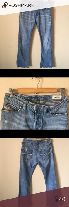 Mens diesel jeans Some wear on back hem(shown in picture). Button fly. W28 L30. Faded distressed color Diesel Jeans Straight