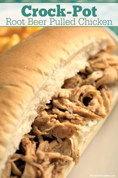 Crock-Pot Root Beer Pulled Chicken - Moist and delicious this easy recipe forCrock-Pot Root Beer Pulled Chicken makes for delicious sandwiches for dinner. Bonus points this simple recipe can also be made into a slow cooker freezer meal! Perfect for busy families! [Gluten Free, Low Calorie, Low Carb, Low Fat. Low Sugar, Healthy & Just 2 Weight Watchers SmartPoints per serving!] #CrockPotLadies #CrockPot #SlowCooker #WeightWatchers #HealthyRecipes #GlutenFree #FreezerMeal Sandwich Bar, Roast Beef Sandwich, Dinner Sandwiches, Delicious Sandwiches, Slow Cooker Freezer Meals, Crock Pot Cooking, Slow Cooker Recipes, Crockpot Recipes, Cooking Recipes