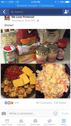Medium size bag of small shrimp. Fry in butter for minutes, add seasoning of your choice (I prefer creole). While that's cooking, prepare turkey or hamburger meat with any seasonings you want. Once it's done, dump it all into a big pot with 2 cans of I Love Food, Good Food, Yummy Food, Healthy Food, Tasty, Seafood Recipes, Mexican Food Recipes, Seafood Nachos, Beef Nachos