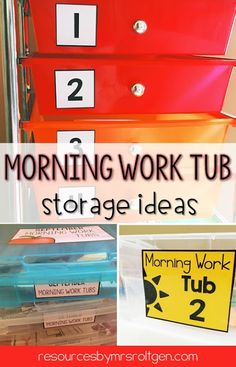 If you've been looking for morning work tub storage ideas, you're going to love this blog post! You'll get some ideas for the home and classroom, but ideas for labels. Because we all know that you have to have a strong labeling system if you want to stay organized! Use these in your elementary preschool, Kindergarten, 1st, 2nd, 3rd, or 4th grade classroom or homeschool.