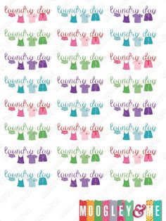Laundry Day planner stickers for your Horizontal or Vertical Erin Condren Life Planner, Kikki K, Happy Planner, Plum Paper, or any planner! by MoogleyandMe on Etsy