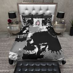 Grey White and Black Ink Spill Skull Duvet Bedding Sets