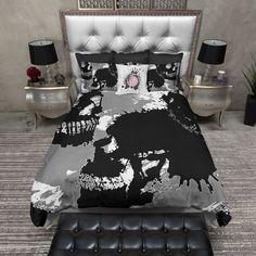 Grey White and Black Ink Spill Skull Duvet Bedding Sets