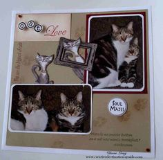 Cat scrapbook page layout. Creative Destinations Guide