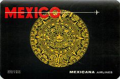 Mexicana Airline ~MEXICO~ Great Old Luggage Label, c. 1955