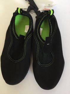 8fb8d71ff623 Beach Shoes Kids Black Lime Green Swim Size 11 12 Unisex New. Swimming GearPool  WaterBeach ...
