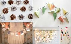 Creative Christmas Garlands. I'm thinking of tissue paper into little lanterns and pompom garland!! Super cool.