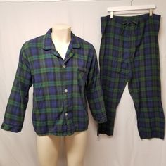 VERMONT COUNTRY STORE 100% Cotton Flannel Pajamas Set Black Watch Plaid Mens  L  VermontCountryStore db44f5e6e