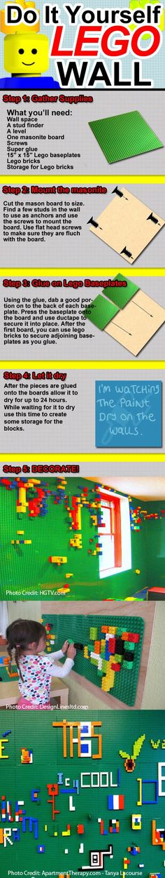 A lego wall. Add this to my fun wall ideas. So one wall will have chalkboard paint, another dry erase, now a lego wall. Now I just need a felt wall for felt play and a magnetic wall. I saw this neat project somewhere about a ball track on a magnet wall. Legos, Deco Lego, Diy Deco Rangement, Diy Pour Enfants, Kind Und Kegel, Lego Wall, Lego Room, Kid Spaces, Boy Room