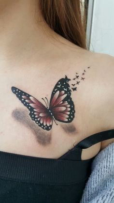 55 Shoulder Tattoo Designs You Want to Try Next - List of the most beautiful tattoo models Realistic Butterfly Tattoo, Watercolor Butterfly Tattoo, Tribal Butterfly Tattoo, Butterfly Tattoos For Women, Butterfly Tattoo Designs, Butterfly Design, Butterfly Shoulder Tattoo, Realistic Fake Tattoos, Front Shoulder Tattoos