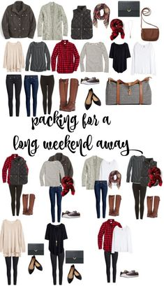 So packen Sie ein langes Wochenende weg · Miss in the Midwest, Weekend Getaway Outfits, Girls Weekend Outfits, Weekend Trip Packing, Winter Travel Packing, Winter Travel Outfit, Packing Tips, Vacation Outfits, Fall Travel Wardrobe, Travel Capsule