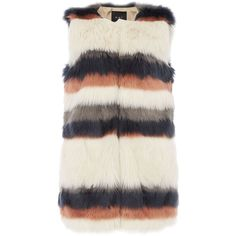 Oui Faux fur stripe gilet (10335 RSD) ❤ liked on Polyvore featuring outerwear, vests, vest, clearance, faux fur vests, faux fur gilets, faux fur gilet vest, striped vest and fake fur vests