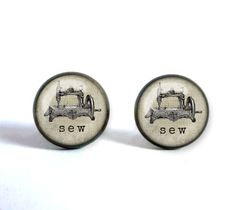 Stud earrings with sewing machine SEW. by OldeOwlPendants on Etsy Handmade Jewelry, Unique Jewelry, Handmade Gifts, Cufflinks, Jewelry Making, Stud Earrings, Sewing, Create, Etsy