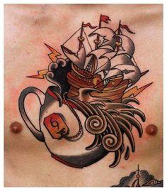 Tea, storm, ship tattoo