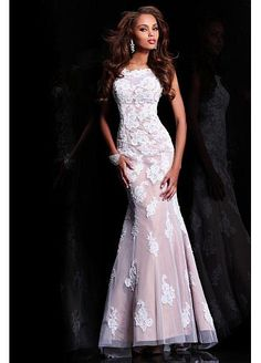 Charming Tulle & Stretch Satin Trumpet Bateau Neckline Prom Dress With Beaded Lace Appliques