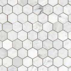Bianco Carrara Hexagon Polished Marble Mosaic - 12 x 12 - 931100750 - Bathroom Ideas Marble Mosaic, Carrara Marble, Mosaic Tiles, Bathroom Floor Tiles, Tile Floor, Stone Bathroom, Shower Floor, Bathroom Pictures, Bathroom Ideas