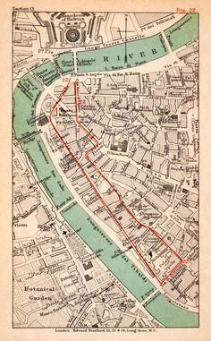 1908 Lithograph Map Plan Italy Rome Tiber River Ponte Sisto St Angelo XGJA5