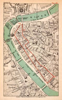 1908 Lithograph Map Plan Italy Rome Tiber River Ponte Sisto St Angelo XGJA5