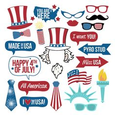 Add some fun to your 4th of July celebration with this huge collection of printable photo booth props! Just print, trim and add sticks! This collection features the following images: Red, White & Blue Top Hat Red, White & Blue Bow Tie Glasses (3) USA Sunglasses Moustache Lips Firecracker YOU ARE HERE Map American Flag Uncle Sam Hat Uncle Sam Hair & Ears Uncle Sam Beard Talk Bubble - I Want You! Talk Bubble - I Love The USA! Talk Bubble - Made In The USA Talk Bubble - All America ...