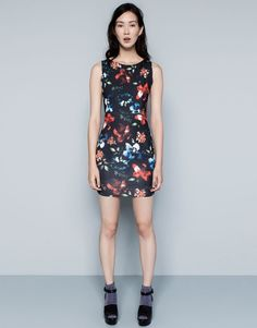 :FLORAL-PRINT DRESS WITH ZIP