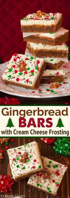 Gingerbread Bars with Cream Cheese Frosting - These are DREAMY! The perfect holi., Desserts, Gingerbread Bars with Cream Cheese Frosting - These are DREAMY! The perfect holiday treat! Noel Christmas, Christmas Goodies, Christmas Candy, Christmas Gingerbread, Christmas Squares, Christmas Cupcakes, Christmas Brownies, Hygge Christmas, Holiday Candy