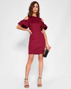 4ed54d5427f Cold shoulder bodycon dress - Oxblood | Dresses | Ted Baker UK Oxblood  Dress, Bodycon