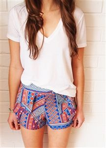 Pink and navy tribal shorts w/white tshirt