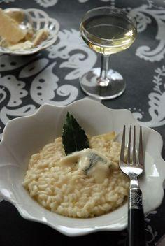 Risotto au parmesan, gorgonzola et vin blanc