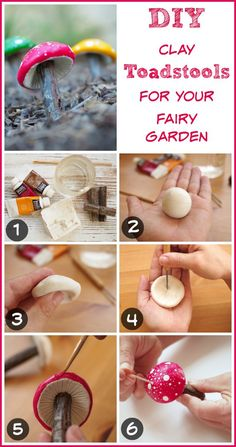 photo of step by step DIY tutorial on how to make a clay toadstool for your fairy garden