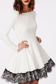 Fun and Flirty! Cute White + Black Lace Collarless Round Neck Long Sleeve Midi Party Dress #Black #Lace #White #Party #Dress #Fashion