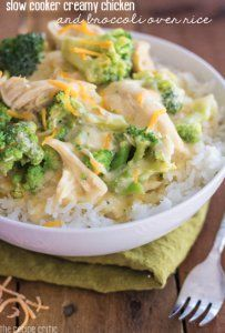 This recipe for Slow Cooker Creamy Chicken and Broccoli Over Rice is a chicken and rice slow cooker recipe that only takes 10 minutes to pre...