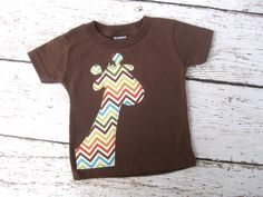 Giraffe Chevron Applique Tee Made to Order Boy Brown Baby Toddler Shirt T-Shirt - ETSY