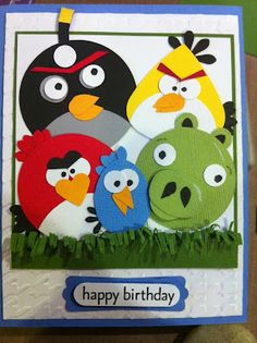 Feelin Scrappy: Angry Birds Birthday Card - made with punches