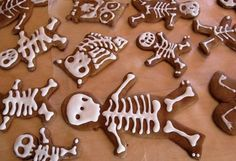 Spooky Halloween Gingerbread Skeleton Cookies: Shape with standard cutters, bake  and then ice to make bones. (Use a solid layer of icing for ghosts & mummies!)