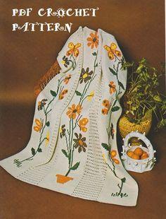 Manta Quadro Crochê Clássico Lençóis -  /     Blanket Table Classic Crochet Sheets -