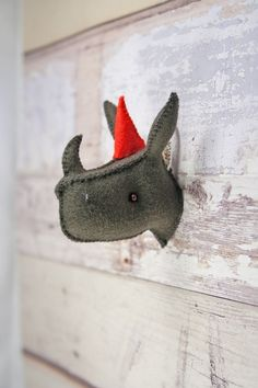 Rhino head mount  plush animal trophy  wall art decor von PlanetFur, $30.00