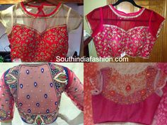 Sheer net saree blouses are in trend now. These net blouses are ultra feminine and glamorous. Either it is a blouse with embellished netted neckline or net sleeves or mesh insert on the back, they all are super chic and trendy. Checkout some designer net blouses from Krishna's Boutique. For inquiries contact: Email: krishnaboutiquecreations@gmail.com Facebook