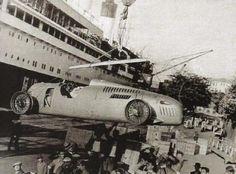GP RIO DE JANEIRO (GAVEA) 1937 , Auto Union C #4 of Hans Stuck  arrives in Brazil...