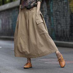 Autumn Thick Stitching Elastic Waist Skirt Source by cottonlinenclothes women dress Linen Skirt, Linen Dresses, Skirt Fashion, Fashion Outfits, Womens Fashion, Image Mode, Denim Skirt Outfits, Mode Jeans, Elastic Waist Skirt