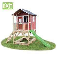EXIT speelhuis Loft 500 met glijbaan - rood   Bart Smit