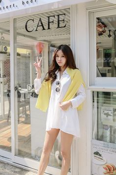 Buy Button Long Shirt at Korean Fashion Store, Find the latest Korean clothing popular this season in South Korea. We are constantly adding new styles daily so come visit! Fashion Models, Girl Fashion, Fashion Outfits, Womens Fashion, Fashion Design, Ulzzang Fashion, Asian Fashion, Cute Asian Girls, Korean Women