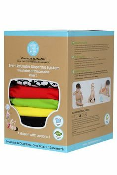 "Charlie Banana® 2-in-1 Reusable Diapers - 6 Pack - ZooLoo Revlon. $114.00. We love cloth diapers for their many benefits and we love Charlie Banana® because of its versatility. Charlie Banana® diapers are a ""2-in-1"" reusable diaper system that is made of a fabulously coloured PUL (polyurethane laminate) outer waterproof layer, and an incredibly soft microfleece stay-dry inner layer. Each Charlie Banana cloth diaper comes with two thick microfiber inserts (4-ply..."