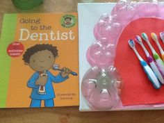 Our dentist theme ,the children will paint the teeth made from the ends of plastic bottles with a tooth brush.this ensures that the children take note that they must give time to their teeth and not just a quick rub. The teeth are then glued to a canvas board so that they can play dentist .