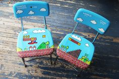 Mario Handpainted Chair Set Pair Video Geekery by DebbieIsAdopted, $175.00 MARY: MARIO WORLD CHAIRS PAINTED OMG I AM MAKING THESE SOMEDAY