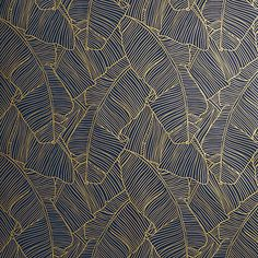 palm print. The easiest way to leaf an impression. Graphic navy-and-gold frond design by Chicago-based designer Matthew Lew climbs the wall without the fear of commitment.
