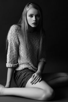 super-straight long hair with woolly jumper & shorts